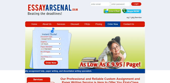 Essayarsenal.co.uk review – Rated 2.4/10