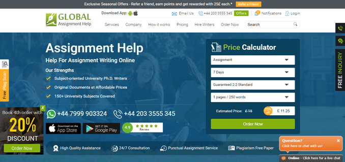 Globalassignmenthelp.com review – Rated 2.6/10